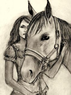 girl with horse drawing - Google Search