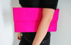 Oversize Neon Pink Fold Over Python Snakeskin Leather Clutch Bag