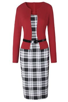 Women's Vintage One-Piece Bodycon Midi Dress featuring fashionable two-pieces design, combining red jacket and plaid midi dress together.  https://atomicjaneclothing.com/products/atomic-vintage-office-lady-3-4-sleeve-one-piece-patchwork-bodycon-dress-with-belt