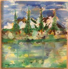 Misty Alaska Lake of Mountains Modern Impressionist signed oil painting 2x2ft #Impressionism