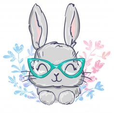 Easter Drawings, Baby Animal Drawings, Cartoon Drawings, Cute Drawings, Cartoon Ears, Cute Bunny Cartoon, Cute Cartoon Characters, Floral Illustrations, Cute Illustration