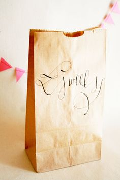 Calligraphy on a paper bag