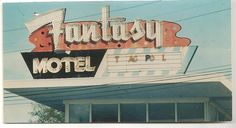 Close-up of the Fantasy Motel sign, winter time, 1990's. This sign greeted vacationers on the main entrance (Rio Grande Ave.) into Wildwood NJ beginning in 1956. Removed in 1997. Building demolished 2005.