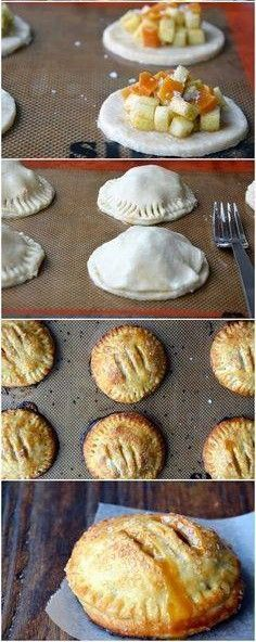 Salted Caramel Apple Hand Pies Recipe ~ Time consuming but delicious! Great for a party or anytime you need finger foods. They're not called hand pies for nothing! Apple Recipes, Fall Recipes, Sweet Recipes, Top Recipes, Pumpkin Recipes, Think Food, I Love Food, Apple Hand Pies, How Sweet Eats
