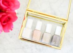Essie nude nail polishes: Blanc Spin the Bottle Sand Tropez Chinchilly