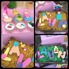 Name cookies Hawain cookies and cupcakes