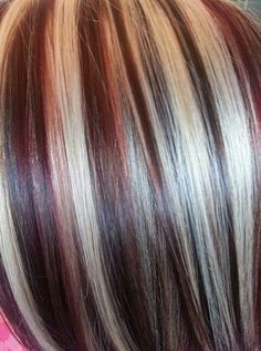 Brown Hair With Blonde Highlights & Lowlights With Light Creamy Shade<br> Burgundy Brown Hair, Burgundy Highlights, Red Hair With Blonde Highlights, Red Blonde Hair, Red Hair Color, Blonde Color, Cool Hair Color, Chunky Highlights, Caramel Highlights