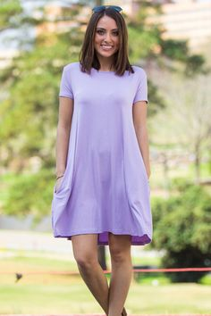 42511ba473f The Perfect Piko Short Sleeve Swing Dress-Lilac