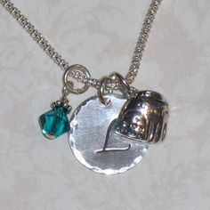 Baseball Glove Hand Stamped Sterling Silver Initial Charm Necklace by DolphinMoonCreations, $34.00