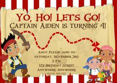Jake and the Neverland Pirates Birthday by LoveLifeInvites on Etsy, $12.50