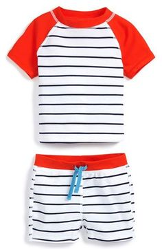 Free shipping and returns on Tucker + Tate Two-Piece Rashguard (Baby Boys) at Nordstrom.com. Leafy tropical print adds to the cool surfer style of a raglan-sleeve rashguard and stretchy coordinating shorts that protect your little one from the sun's rays.