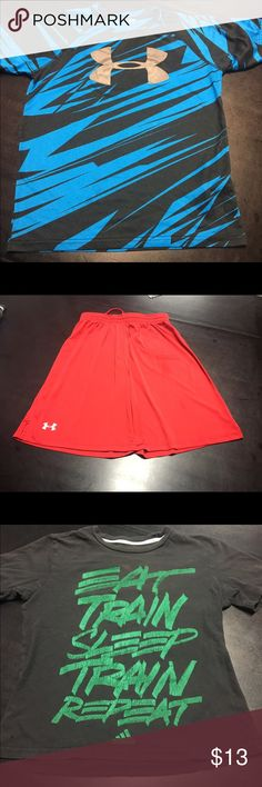 Boys 10/12 Lot- Underarmour/adidas This is a used lot of three pieces. Blue Underarmour T ymd, great condition. Red Underarmour shorts Ylg some wear and some discoloration. Black and green addidas t m- 10/12. MMARO and or bundle! I'm nice!! Under Armour Shirts & Tops Tees - Short Sleeve