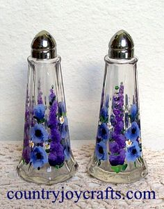 hand painted glass salt and pepper shakers