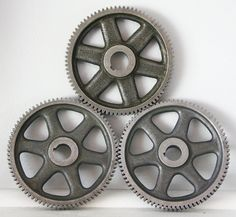 Industrial Vintage Drive Gear Cast Iron 1930s Machinery Grey Spoked Wheel Metal Decor on Etsy, $22.00