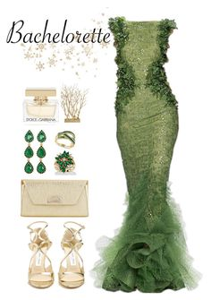 """Dress Rachel for the Bachelorette!"" by bmaroso ❤ liked on Polyvore featuring Jimmy Choo, Christian Louboutin, Loren Hope, Palm Beach Jewelry, Effy Jewelry, Dolce&Gabbana, GREEN, Night, golden and Bachelorette"