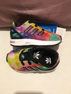 a8569b26c201b ADIDAS  BLING  Originals Infant Girls zx-FLUX Elastic Laces multi coloured  Trainers with  Bling stripes     Bling Heel Backs . Uk 4 Infant