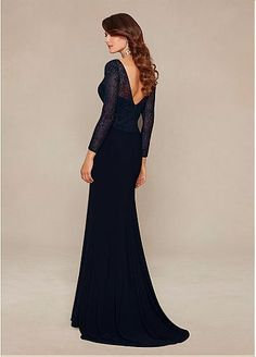 Elegant Chiffon Long Sleeves V-neck Floor-length Mother of the Bride Dresses