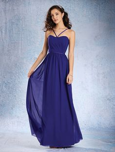 Alfred Angelo Style 7360L: floor length bridesmaid dress with dipped neckline and satin straps