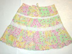 Lilly Pulitzer Horse Floral Green Pink Yellow Polka Dot Lace Tiers Skirt Girl 12 #LillyPulitzer #Everyday