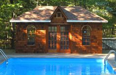 This Sonoma pool cabana, with its double French doors and arched windows is probably is used as a home studio. Sonoma Spas, Cedar Shingle Siding, Pool Shed, Double French Doors, Backyard Studio, Pool Cabana, Arched Windows, Home Studio, Building Plans