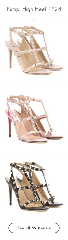 """""""Pump, High Heel ##24"""" by janelee8598 ❤ liked on Polyvore featuring shoes, sandals, neutrals, valentino shoes, leather shoes, leather footwear, leather sandals, real leather shoes, pink and pink shoes"""