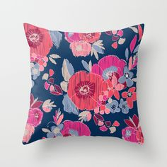Janis Flower Throw Pillow by Crystal ★ Walen -Ikat, floral, Navy, pattern, coral red, coral pink, periwinkle, khaki, ecru, home decor