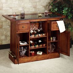 """Davin Home Bar and Two Bar Stools Set  $1700  --  Overall, the home bar measures 60""""W x 24""""D x 42""""H; weighs 296 lbs. each bar stool measures 22.5""""Wx22""""Dx46""""H; weighs 43 lbs. Seat to floor height is 31""""H."""