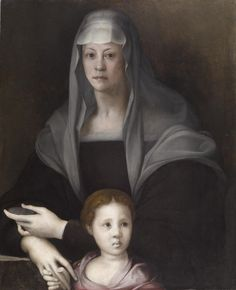 Maria Salviati de' Medici was the mother of Cosimo I, grand duke of Tuscany. The little girl holding her hand is probably Giulia de' Medici, who was left in Maria's care after the murder of her father, Duke Alessandro de' Medici. Duke Alessandro was born to a Medici cardinal and an African woman, so this portrait may be the first of an Afro-European girl in European art. The child was painted over sometime in the 19th century, and discovered when the painting was cleaned in 1937.