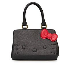 ef3c7138e867 Hello Kitty Black Quilt Walking Stitch Face Bag - Front Strap Skull Purse