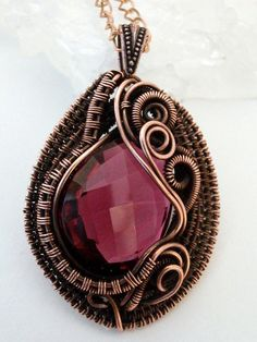 SOLD! AAA Pomegranate Pink Quartz Wire Weaved Heart by PerfectlyTwisted