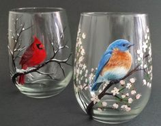 Wine Glass Blue Bird Hand Painted White Cherry Blossom Spring