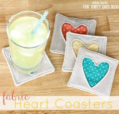 Fabric Heart Coasters. A cute addition to any table top decor for your home. Make a set to give as wonderful hostess gifts, or give them for birthdays, Valentines Day.