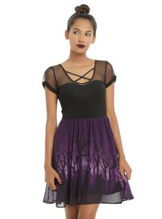 "<div>This dress from Disney brings out your inner baddie, and we're loving it! The most appropriate place for villains to rendezvous is the deepest, darkest part of the enchanted forest which is depicted on the chiffon overlay of this dress. The deep purple skirt has silhouetted images of Maleficent, Ursula and the Evil Queen - they may just be out for a stroll but we know they're up to no good. The fitted black bodice has a ""sleeveless"" sweetheart neckline with a mesh yoke and cap sleeves…"