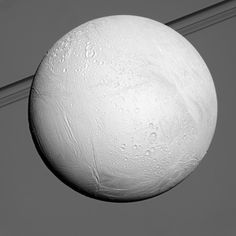 Bright Enceladus Saturn's moon Enceladus reflects sunlight brightly while the planet and its rings fill the background of this Cassini view. Enceladus is one of the most reflective bodies in the solar system because it is constantly coated by fresh, white ice particles. Nov 20, 2013