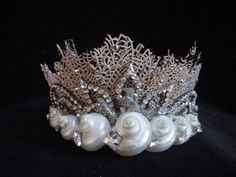 Sea Fan Coral Shell Beach Wedding Mermaid Ariel Tiara Seashell & Coral Tiara - how unique~! I'd like the coral a pinky color and the jewels blue / green for effect :) but this is still lovely! Seashell Crown, Shell Crowns, Mermaid Crown, Mermaid Top, Mermaid Princess, Fan Coral, Shell Beach, Circlet, Flower Crowns