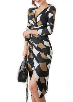 Asymmetric Hem Long Sleeve Printed Dress on sale only US$31.11 now, buy cheap Asymmetric Hem Long Sleeve Printed Dress at lulugal.com