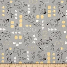 Disney Winnie The Pooh Characters Stone from @fabricdotcom  Designed by Disney and licensed to Springs Creative Products, this cotton print fabric is perfect for quilting, apparel and home decor accents. Colors include white, grey, black and yellow. Due to licensing restrictions, this item can only be shipped to USA, Puerto Rico, and Canada.