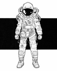 """I've always wanted to be an astronaut, and even now at 42 years old, I haven't quite given up hope, so when Jeremy Marshall commissioned an illustration and said """"… is. Astronaut Drawing, Astronaut Illustration, Astronaut Tattoo, Alien Tattoo, Illustration Art Drawing, Space Drawings, Art Drawings, Astronaut Wallpaper, Drawing Reference"""