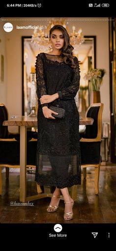 Pakistan Fashion, Eid Collection, Desi Clothes, Cotton Silk, Black Fabric, Peplum Dress, I Dress, Cool Style, Cold Shoulder Dress