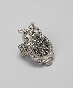Silver Simulated Diamond Owl Stretch Ring