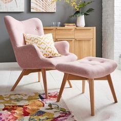 Contemporary ✨ Light Pink Fabric Tufted Armchair with Wooden Legs & Tufted Footstool having Wooden Legs - GharPedia Living Room Accents, Accent Chairs For Living Room, Living Room Furniture, Living Room Decor, Country Furniture, Modern Furniture, Furniture Design, Bedroom Chair, Bedroom Decor