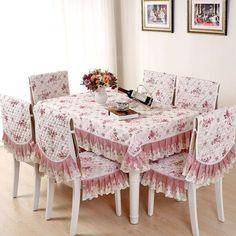Jacquard retangular acolchoado toalha de Mesa romântico de rendas Floral Mesa de jantar cadeira pano capa de almofada Manteles parágrafo Mesa YW029