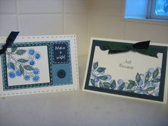 TLC103 Blueberry Gift Set2 Stamps:Best Blossoms, FS bg, Minimates sentiments Paper:Non SU lt blue, Night of Navy, Forest Foliage Ink:Same as paper, Black Accessories:gel pens, ribbon, WW punch, slit punch,