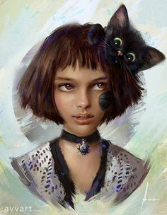 """Mathilda(Leon: The Professional)and!(details) My series """"Famous character and their pets"""". Mathilda Lando, Comics Anime, Portrait Pictures, Digital Portrait, Henri Matisse, Beautiful Paintings, Woman Face, Geeks, Lovers Art"""