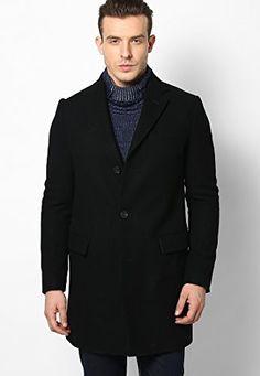 Black Full Sleeve Overcoat