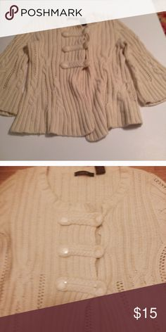 3 for $20 cream colored sweater Bell sleeves. Toggle closure Sweaters