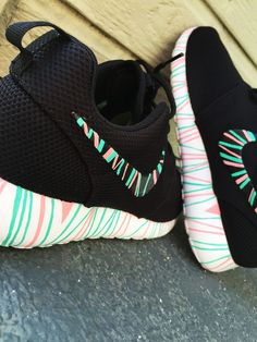 Women's Custom Nike Roshe Run sneakers, South Beach teal/ Pink petals, Fashionable design,