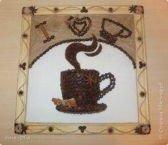 Картина панно рисунок Пано из кофейных зерен Бутылки пластиковые Картон Клей Кофе Скотч Ткань Шпагат