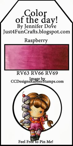 Copic Color of the Day 53 Raspberry Just4FunCrafts and DoveArt Studios