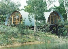 In North America, the big thing for DIY builders was the A-frame, but a triangle encloses the smallest volume of any shape. The circle encloses the most, so domes and arches like the famous quonset hut provide big interior volumes relative to the